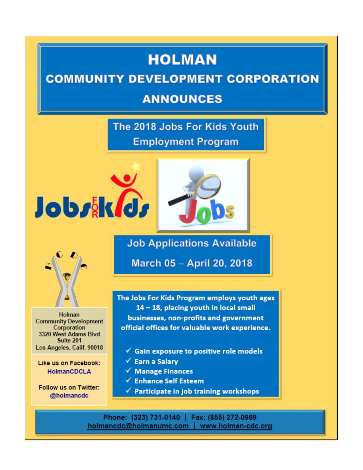 JOBS FOR KIDS JOB APPLICATIONS GO LIVE… MARCH 5th – APRIL